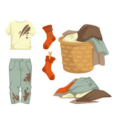 Clothes or dirty laundry stains on garments towels vector
