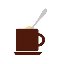 coffee cup with sugar spoon vector image