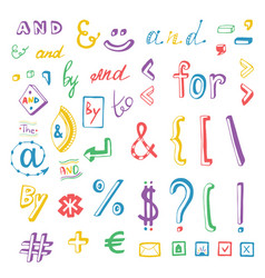 Colorful social media sign and symbol doodles set vector