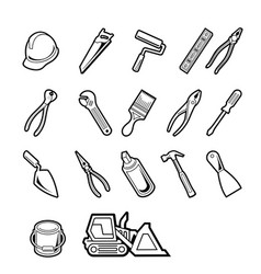 Construction tools icon set vector