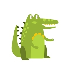 Crocodile Sitting Straight Like Man Flat Cartoon vector image