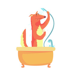cute cartoon fox taking a shower red fox washing vector image