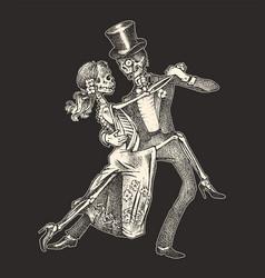 Dancing skeletons halloween banner template day vector