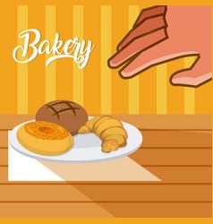 delicious bakery concept vector image