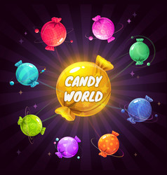 Fantasy cartoon solar system with colorful candies vector
