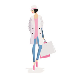 Fashion woman shopping vector