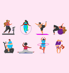 fitness girls plus size health sport in club set vector image