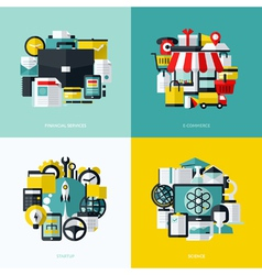 Flat icons set of financial services e-commerce vector