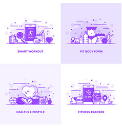 Flat line purple designed concepts 8 vector