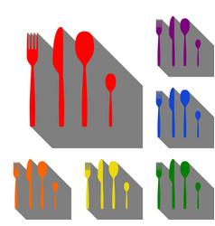 fork spoon and knife sign set of red orange vector image
