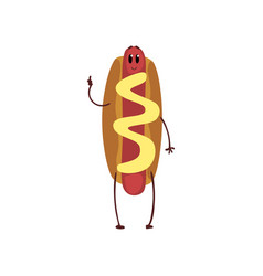 funny hotdog showing thumb up humanized fast food vector image