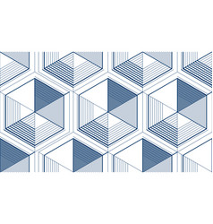 geometric 3d lines abstract seamless pattern vector image