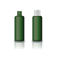 Green clear cosmetic round bottle with grooved lid vector