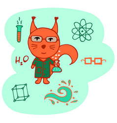 Hand-drawn clever squirrel the chemist vector