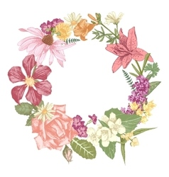 Hand drawn floral wreath vector