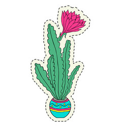 hand drawn flower in pot vector image