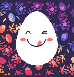 Happy egg in style kawaii with grass and flower vector