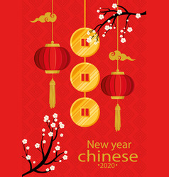 Happy new year chinese 2020 with lanterns hanging vector