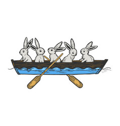 hare animals in boat color sketch engraving vector image