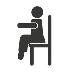human figure silhouette siting in chair vector image