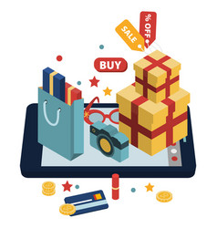 isometric of online shopping vector image
