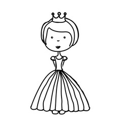 little princess drawing isolated icon vector image