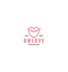 Love line with owl eyes logo design vector