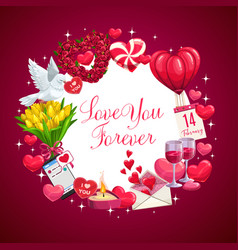 Love you forever valentine day wish hearts vector