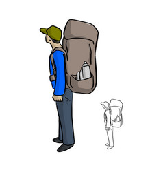 man hiking with big backpack sketch vector image