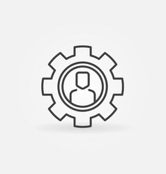 man in gear thin line icon outsourcing vector image