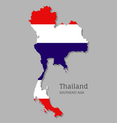 Map thailand with national flag vector