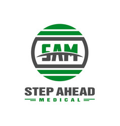 modern health logo with letter sam vector image