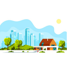 modern house with big city on background vector image