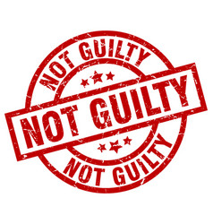 not guilty round red grunge stamp vector image