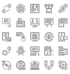 online banking outline icons set internet vector image