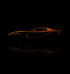 orange sport car silhouette vector image