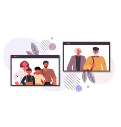 Parents and children having virtual meeting vector