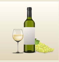 Realistic grapes brunch wine glass vector