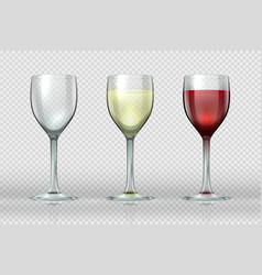 realistic wine glasses wineglass with red and vector image