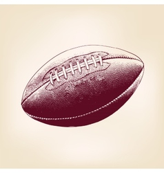 Rugby ball hand drawn llustration realistic sketch vector
