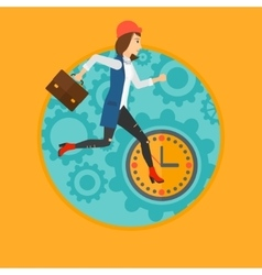 Running woman on clock background vector