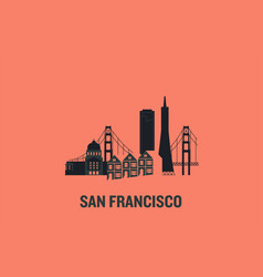 san francisco principal buildings vector image