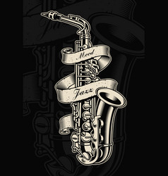 Saxophone with vintage ribbon vector