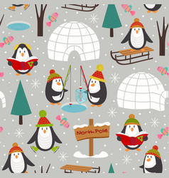 Seamless pattern with penguins vector