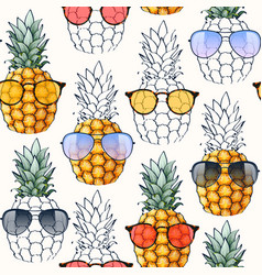 Seamless pattern with pineapple and glasses vector