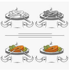 set of different images of salmon vector image