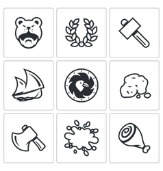Set of Viking life Icons Barbarian Laurel vector image