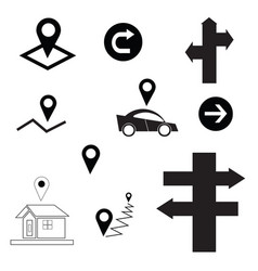 set with map sign - arrow - car - house vector image