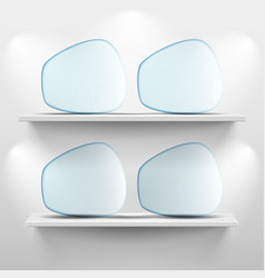 Shelves with glass app icons on white background vector