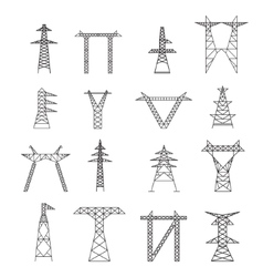 Silhouettes of High Voltage Electric Post Icon Set vector